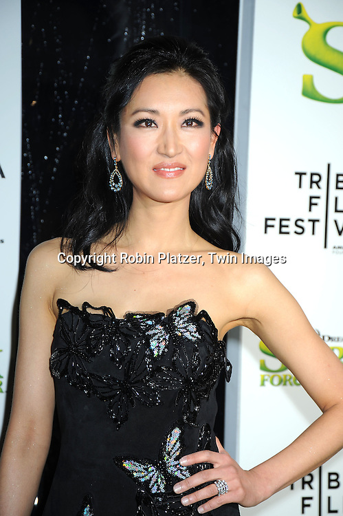 """Kelly Choi in Vivian Tam black dress arriving at The """"Shrek Forever After"""" world premiere at The opening night of The Tribeca Film Festival on April 21, 2010 at The Ziegfeld Theatre in New York City. The movie stars Cameron Diaz, Mike Meyers, Eddie Murphy and Antonio Banderas."""