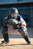 Kyle Overstreet (29) of the Lake Elsinore Storm catches in the bullpen before a game against the Lancaster JetHawks at The Hanger on June 14, 2017 in Lancaster, California. Lancaster defeated Lake Elsinore, 4-0. (Larry Goren/Four Seam Images)