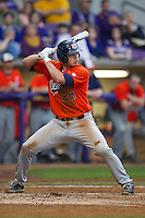 Auburn Tigers third baseman Damek Tomscha #25 at bat against the LSU Tigers in the NCAA baseball game on March 23, 2013 at Alex Box Stadium in Baton Rouge, Louisiana. LSU defeated Auburn 5-1. (Andrew Woolley/Four Seam Images).