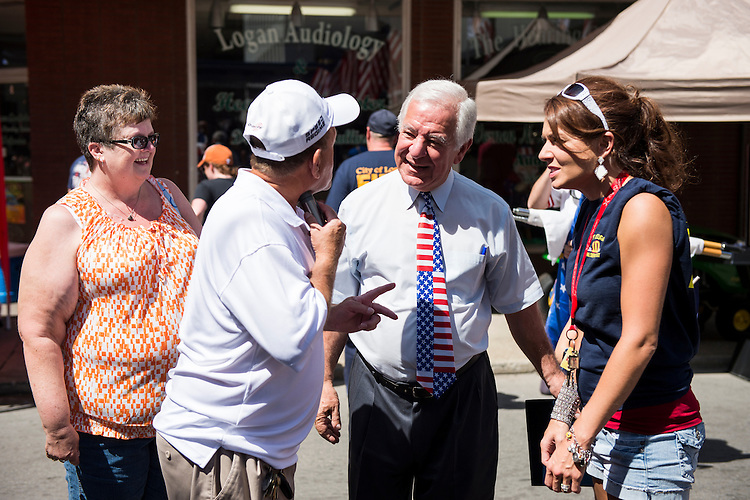 UNITED STATES - JULY 5: Rep. Nick Rahall, D-W.Va., speaks with local residents at the West Virginia Freedom Festival in downtown Logan, W. Va., on July 5, 2014. (Photo By Bill Clark/CQ Roll Call)