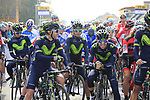 Riders on the start line of the 60th edition of the Record Bank E3 Harelbeke 2017, Flanders, Belgium. 24th March 2017.<br /> Picture: Eoin Clarke | Cyclefile<br /> <br /> <br /> All photos usage must carry mandatory copyright credit (&copy; Cyclefile | Eoin Clarke)