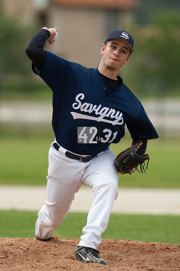 21 May 2009: Thomas Salado of Savigny pitches against Clermont-Ferrand during the 2009 challenge de France, a tournament with the best French baseball teams - all eight elite league clubs - to determine a spot in the European Cup next year, at Montpellier, France.