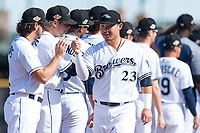 Peoria Javelinas second baseman Keston Hiura (23), of the Milwaukee Brewers organization, during player introductions before the Arizona Fall League Championship game against the Salt River Rafters at Scottsdale Stadium on November 17, 2018 in Scottsdale, Arizona. Peoria defeated Salt River 3-2 in 10 innings. (Zachary Lucy/Four Seam Images)