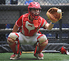 Patrick Abate, catcher and captain of the Amityville varsity baseball team, gloves a pitch in the Mets' bullpen of Citi Field in Flushing, NY on Saturday, June 23, 2018.