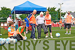 Futsol World Record Attempt : Martin Hickey, President of Listowel Celtic Soccer taking the first penalty  in the Futsol world record attempt at Kennedy Park, Listowel  during the Listowel Celtic 50th Jubilee celebration on Saturday last.