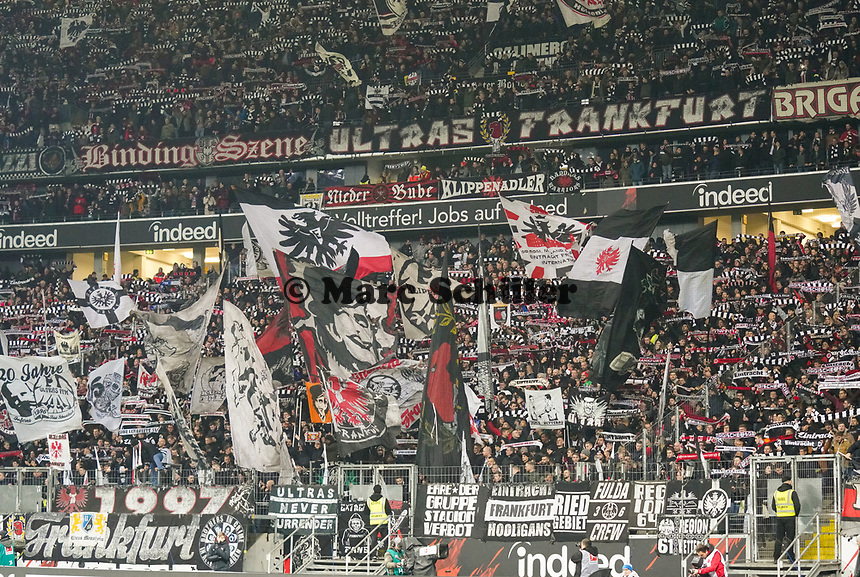 Fans von Eintracht Frankfurt - 18.12.2019: Eintracht Frankfurt vs. 1. FC Koeln, Commerzbank Arena, 16. Spieltag<br /> DISCLAIMER: DFL regulations prohibit any use of photographs as image sequences and/or quasi-video.