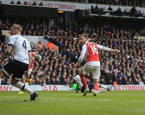 05.03.2016. White Hart Lane, London, England. Barclays Premier League. Tottenham Hotspur versus Arsenal. A cheeky back heel flicked goal from Aaron Ramsey of Arsenal gives his side the lead.