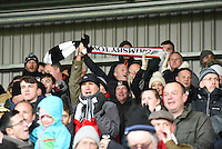Grimsby Town fans celebrate scoring their first goa during the Vanarama National League match between Eastleigh and Grimsby Town at The Silverlake Stadium, Eastleigh, Hampshire on Nov 21, 2015. (Photo: Paul Paxford/PRiME)