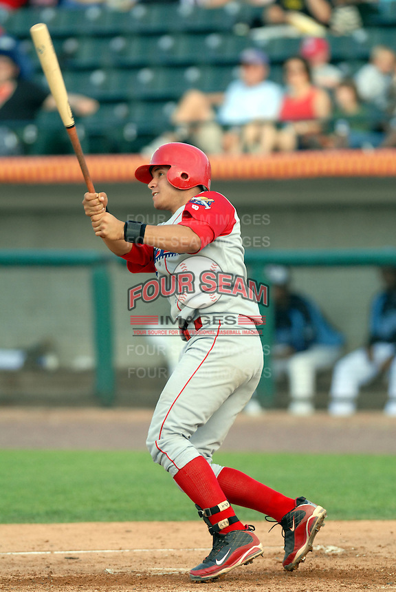 C Sebastian Valle of the Williamsport Crosscutters, the short season A ball affiliate of the Philadelphia Phillies,at Edward LeLacheur Park in Lowell,MA on July 18, 2009 (Photo by Ken Babbitt/Four Seam Images)