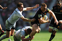 Sam Simmonds of Exeter Chiefs breaks free from Chris Wyles of Saracens to score a try during the Aviva Premiership Rugby Final between Exeter Chiefs and Saracens at Twickenham Stadium on Saturday 26th May 2018 (Photo by Rob Munro/Stewart Communications)