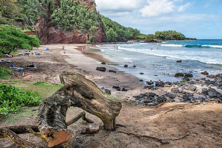 Koki Beach, located off the Hana Highway a few miles south of Hana, Maui