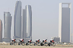 Lotto-Soudal motor along during Stage 1 of the 2019 UAE Tour, a team time trial running 16km around Al Hudayriat Island, Abu Dhabi, United Arab Emirates. 24th February 2019.<br /> Picture: LaPresse/Fabio Ferrari | Cyclefile<br /> <br /> <br /> All photos usage must carry mandatory copyright credit (© Cyclefile | LaPresse/Fabio Ferrari)