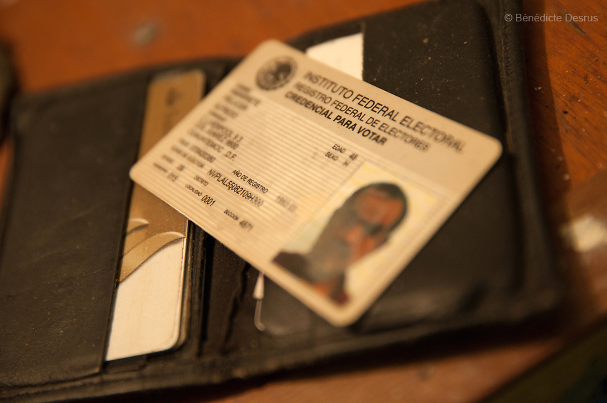 """A wallet and an identity card found at the scene of a suicide in the middle-class neighborhood of Colonia del Valle, Mexico City, Mexico on April 26th, 2016, which Donovan cleanedin three hoursat a charge of $475. The 65-year-old deceased --who was HIV positive-- worked as a painter, and lived on the roof of the private psychologist's clinic where he had been receiving treatment for depression. His body was discovered in the practice three days after he committed suicide, when hispsychologist was alerted by the odor and the presence of flies. Donovan Tavera, 43, is the director of """"Limpieza Forense México"""", the country's first and so far only government-accredited forensic cleaning company. Since 2000, Tavera, a self-taught forensic technician, and his family have offered services to clean up homicides,unattended death,suicides, the homes of compulsive hoarders and houses destroyed by fire or flooding. Despite rising violence that has left 70,000 people dead and 23,000 disappeared since 2006, Mexico has only one certified forensic cleaner. As a consequence, the biological hazards associated with crime scenes are going unchecked all around the country.Photo by Bénédicte Desrus"""