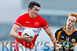 Mark O'Connor Dingle in action against Shane Callaghan  Austin Stacks in the Quarter Final of the Kerry Senior Football Championship between Austin Stacks and Dingle at Austin Stack Park on Saturday night