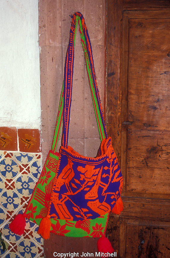 Huichol Indian woven bag for sale in San Miguel de Allende, Mexico