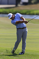 Luca Cianchetti (ITA) plays his 2nd shot on the 18th hole during Saturday's Round 3 of the Porsche European Open 2018 held at Green Eagle Golf Courses, Hamburg Germany. 28th July 2018.<br /> Picture: Eoin Clarke | Golffile<br /> <br /> <br /> All photos usage must carry mandatory copyright credit (&copy; Golffile | Eoin Clarke)