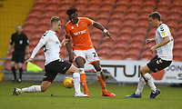 Blackpool's Armand Gnanduillet is tackled by Charlton Athletic's Patrick Bauer<br /> <br /> Photographer Stephen White/CameraSport<br /> <br /> The EFL Sky Bet League One - Blackpool v Charlton Athletic - Saturday 8th December 2018 - Bloomfield Road - Blackpool<br /> <br /> World Copyright &copy; 2018 CameraSport. All rights reserved. 43 Linden Ave. Countesthorpe. Leicester. England. LE8 5PG - Tel: +44 (0) 116 277 4147 - admin@camerasport.com - www.camerasport.com