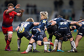 24th March 2018, AJ Bell Stadium, Salford, England; Aviva Premiership rugby, Sale Sharks versus Worcester Warriors; Faf de Klerk of Sale Sharks clears the ball