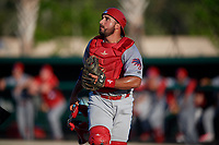 Clearwater Threshers catcher Edgar Cabral (30) during a Florida State League game against the Dunedin Blue Jays on May 11, 2019 at Jack Russell Memorial Stadium in Clearwater, Florida.  Clearwater defeated Dunedin 9-3.  (Mike Janes/Four Seam Images)
