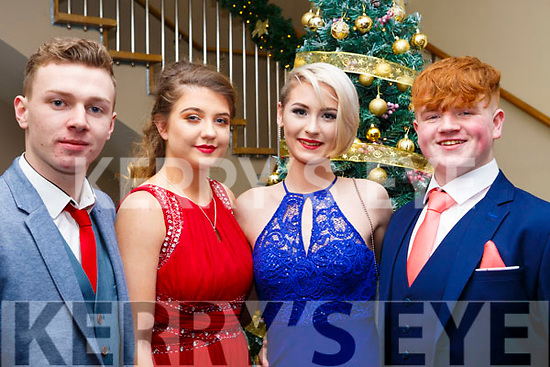 Attending the Mercy Mounthawk debs in the Ballyroe Heights Hotel on Thursday night last, l-r, Shane Duggan (Ballyheigue), Megan Hunt (Tralee), Juilass Wiggan (Tralee) and Josh Leahy (Lixnaw).
