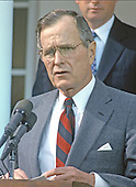United States President George H.W. Bush reads a statement rejecting the proposed Soviet peace agreement to end the Gulf War with Iraq in the Rose Garden of the White House in Washington, D.C. on February 22, 1991.<br /> Credit: Howard L. Sachs / CNP