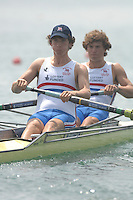 Beijing, CHINA, GBR JM2-, Bow, Matthew TARRANT and Matthew ANKER, during the  2007. FISA Junior World Rowing Championships Shunyi Water Sports Complex. Wed. 08.08.2007  [Photo, Peter Spurrier/Intersport-images].... , Rowing Course, Shun Yi Water Complex, Beijing, CHINA,