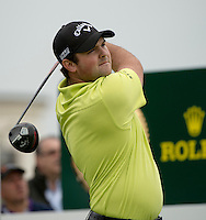15.10.2014. The London Golf Club, Ash, England. The Volvo World Match Play Golf Championship.  Day 1 group stage matches.  Patrick Reed [USA] on the first tee.