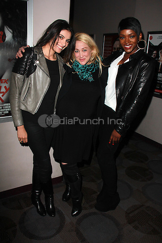"BEVERLY HILLS, CA - FEBRUARY 28: Gabriella Wright, Jennifer Blanc-Biehn, Caroline Chikezie at the ""Everly"" Opening Weekend Splatter-Ganza at Laemmle's Music Hall, Beverly Hills, California on February 28, 2015. Credit: David Edwards/DailyCeleb/MediaPunch"