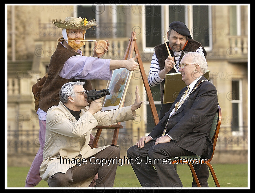 12/03/2003                   Copyright Pic : James Stewart.File Name : stewart-big in falkirk 06.FALKIRK PROVOST JIM JOHNSTON RECEIVES THE ATTENTION OF STREET PERFORMERS ANDY WHARHOL (GLEN DICKSON), VAN GOGH ( ANDY TOWNSLEY) AND FRENCH IMPRESSIONIST PAINTER MATISE (MARTIN CAMPBELL), FROM THE INTERACTIVE PERFORMANCE COMPANY MISCHIEF LA BAS........James Stewart Photo Agency, 19 Carronlea Drive, Falkirk. FK2 8DN      Vat Reg No. 607 6932 25.Office     : +44 (0)1324 570906     .Mobile  : +44 (0)7721 416997.Fax         :  +44 (0)1324 570906.E-mail  :  jim@jspa.co.uk.If you require further information then contact Jim Stewart on any of the numbers above.........