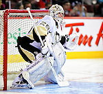 6 February 2010: Pittsburgh Penguins' goaltender Marc-Andre Fleury warms up prior to a game against the Montreal Canadiens at the Bell Centre in Montreal, Quebec, Canada. The Canadiens defeated the Penguins 5-3. Mandatory Credit: Ed Wolfstein Photo