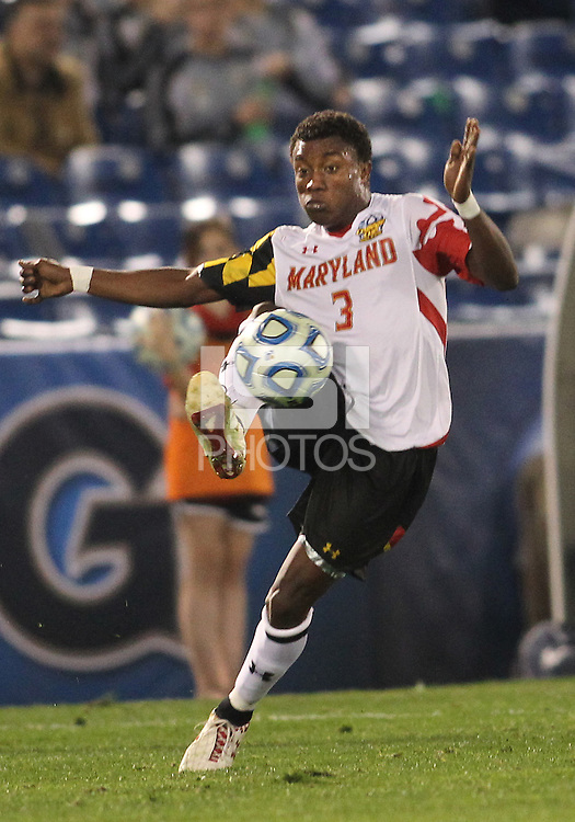 HOOVER, AL - DECEMBER 07, 2012:  Christiano Francois (3) of the University of Maryland against Georgetown University during an NCAA 2012 Men's College Cup semi-final match, at Regents Park, in Hoover , AL, on Friday, December 07, 2012. The game ended in a 4-4 tie, after overtime Georgetown won on penalty kicks.