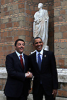 Il Presidente del Consiglio Matteo Renzi accoglie il Presidente degli Stati Uniti Barack Obama a Villa Madama, Roma, 27 marzo 2014.<br /> Italian Premier Matteo Renzi welcomes U.S President Barack Obama at Villa Madama, Rome, 27 March 2014.<br /> UPDATE IMAGES PRESS/Isabella Bonotto