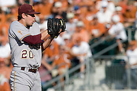 Arizona State Sun Devil starting pitcher Brady Rodgers #20 looks in for the sign against the Texas Longhorns in NCAA Tournament Super Regional baseball on June 10, 2011 at Disch Falk Field in Austin, Texas. (Photo by Andrew Woolley / Four Seam Images)