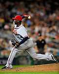 3 July 2009: Atlanta Braves relief pitcher Rafael Soriano in action against the Washington Nationals at Nationals Park in Washington, DC. The Braves defeated the Nationals 9-8 to take the first game of the 3-game weekend series. Mandatory Credit: Ed Wolfstein Photo