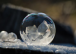 When temperatures fall into the teens a soap bubble can be blown into the air and if you're quick you could capture the beauty of frost patterns as they form on its surface...fleetingly captured and as individual as snowflakes.