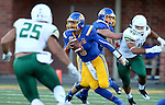 BROOKINGS, SD - SEPTEMBER 17: Taryn Christion #3 from South Dakota State University looks downfield past Chris Santini #25 from Cal Poly in the first half of their game Saturday night at the Dana J. Dykhouse Stadium in Brookings. (Photo by Dave Eggen/Inertia)