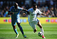 Swansea City's Jordan Ayew under pressure from Stoke City's Bruno Martins Indi<br /> <br /> Photographer Kevin Barnes/CameraSport<br /> <br /> The Premier League - Swansea City v Stoke City - Saturday 22nd April 2017 - Liberty Stadium - Swansea<br /> <br /> World Copyright &copy; 2017 CameraSport. All rights reserved. 43 Linden Ave. Countesthorpe. Leicester. England. LE8 5PG - Tel: +44 (0) 116 277 4147 - admin@camerasport.com - www.camerasport.com