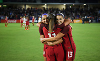 Orlando City, FL - Wednesday March 07, 2018: Mallory Pugh, Alex Morgan, Celebrate during a 2018 SheBelieves Cup match between the women's national teams of the United States (USA) and England (ENG) at Orlando City Stadium.