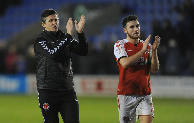 Fleetwood Town manager Joey Barton and Lewie Coyle applaud fans at full time<br /> <br /> Photographer Kevin Barnes/CameraSport<br /> <br /> The EFL Sky Bet League One - Shrewsbury Town v Fleetwood Town - Tuesday 1st January 2019 - New Meadow - Shrewsbury<br /> <br /> World Copyright © 2019 CameraSport. All rights reserved. 43 Linden Ave. Countesthorpe. Leicester. England. LE8 5PG - Tel: +44 (0) 116 277 4147 - admin@camerasport.com - www.camerasport.com