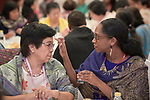 Jody Tyrell anoints the forehead of Corazon Factora with oil on January 17, 2018, during an international gathering of United Methodist Women in Manila. <br /> <br /> Tyrell, an immigration attorney in New York, was part of a delegation of United Methodist Women who came to the Philippines from the United States. Factora is a former president of the Women's Society for Christian Service.