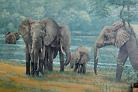 Detail of fresco of elephants in the Ibis Gallery, Parc Zoologique de Paris, or Zoo de Vincennes, (Zoological Gardens of Paris, also known as Vincennes Zoo), 1934, by Charles Letrosne, 12th arrondissement, Paris, France, pictured on April 12, 2011 in the morning. In November 2008 the 15 hectare Zoo, part of the Museum National d'Histoire Naturelle (National Museum of Natural History) closed its doors to the public and renovation works will start in September 2011. The Zoo is scheduled to re-open in April 2014. Picture by Manuel Cohen.