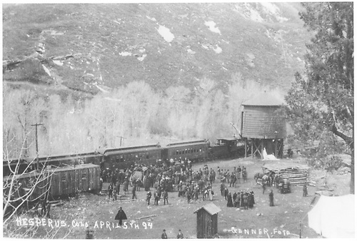 View of area in Hesperus where RGS depot will be built.  A large crowd of people is attending the station stop of an RGS passenger train.<br /> RGS  Hesperus, CO  Taken by Ganner, - 4/5/1894
