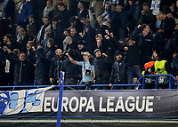 Malmo Ultras greet their team onto the pitch for the warm-up during Chelsea vs Malmo FF, UEFA Europa League Football at Stamford Bridge on 21st February 2019