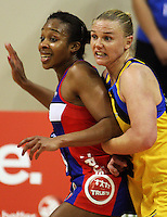 Pulse captain Cushla Lichtwark (right) marks Pamela Cookey during the ANZ Netball Championship match between the Central Pulse and Northern Mystics, TSB Bank Arena, Wellington, New Zealand on Monday, 4 May 2009. Photo: Dave Lintott / lintottphoto.co.nz