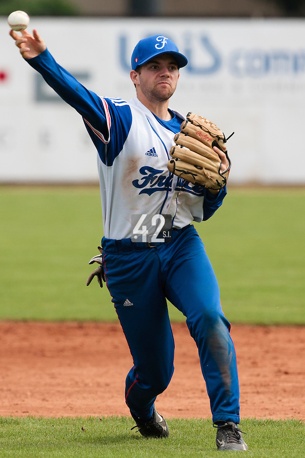 19 August 2010: Sebastien Duchossoy of Team France throws the ball to first base during France 7-6 win over Slovakia, at the 2010 European Championship, under 21, in Brno, Czech Republic.