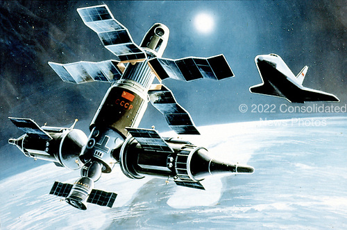 United States Department of Defense released its 1985 assessment of Soviet Military Power at the Pentagon in Washington, DC on April 2, 1985.  The release stated &quot;the Soviet space shuttle, when operational, will have many roles including the delivery of personnel and components to increasingly sophisticated manned Soviet space complexes.&quot;<br /> Credit: Department of Defense via CNP