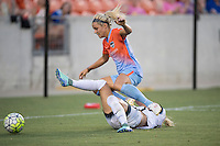 Houston, TX - Saturday July 16, 2016: Rachel Daly, Kat Williamson during a regular season National Women's Soccer League (NWSL) match between the Houston Dash and the Portland Thorns FC at BBVA Compass Stadium.