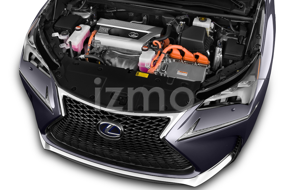 Car Stock 2015 Lexus NX 300h F Sport 4WD 5 Door SUV 4WD Engine high angle detail view