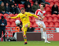 Fleetwood Town's Ryan Taylor vies for possession with Doncaster Rovers' John Marquis<br /> <br /> Photographer David Shipman/CameraSport<br /> <br /> The EFL Sky Bet League One - Doncaster Rovers v Fleetwood Town - Saturday 6th October 2018 - Keepmoat Stadium - Doncaster<br /> <br /> World Copyright © 2018 CameraSport. All rights reserved. 43 Linden Ave. Countesthorpe. Leicester. England. LE8 5PG - Tel: +44 (0) 116 277 4147 - admin@camerasport.com - www.camerasport.com