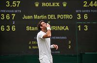 London, England, 01 July, 2016, Tennis, Wimbledon, Juan Martin Del Potro (ARG) celebrates his victory over Stanislas Wawrinka (SUI)<br /> Photo: Henk Koster/tennisimages.com